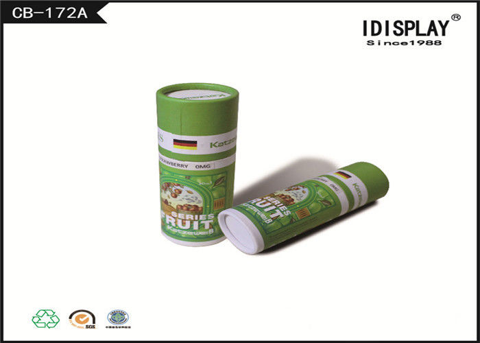 Cylindrical Decorative Cardboard Gift Boxes Green Color With Lids