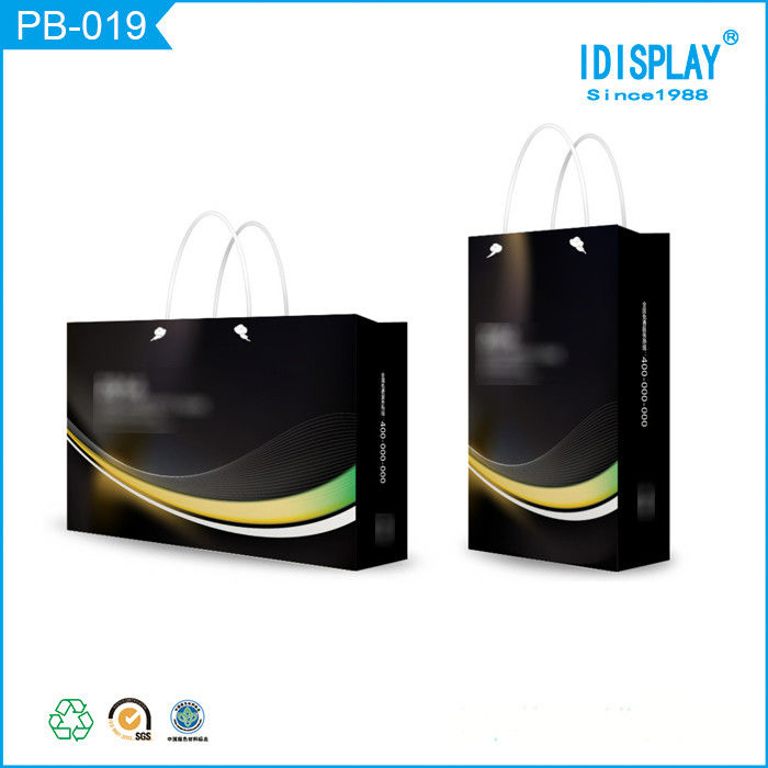 Personalized Black Glossy Finish Paper Shopping Bags With Handles , Logo Printed